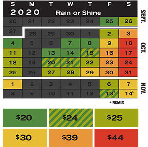 2020 Terror Behind the Walls group pricing calendar