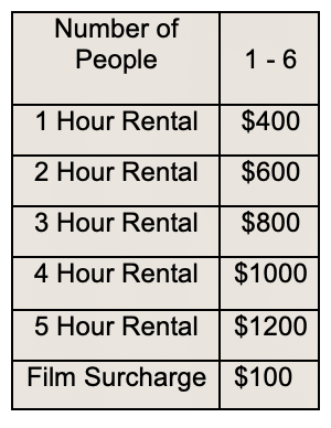 Chart showing prices for photo rentals ranging from $400 - $1200 for 1-6 people